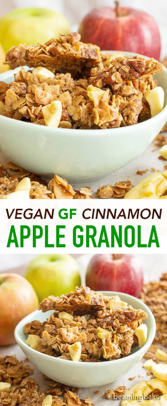 Apple Cinnamon Granola: this homemade gluten free granola recipe is quick 'n easy! The best gluten free granola recipe—full of yummy cinnamon apple granola clusters, Vegan & GF! #Apple #GlutenFree #Vegan #Granola | Recipe at BeamingBaker.com