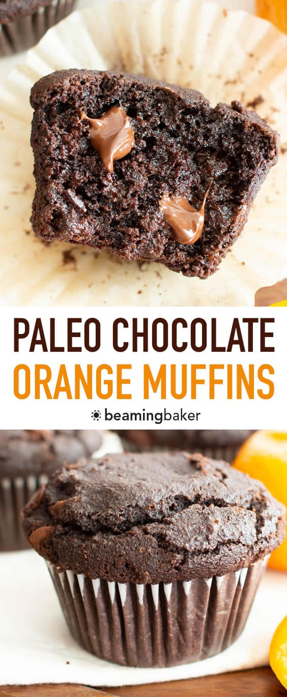 Paleo Chocolate Orange Muffins (GF): fluffy & moist Gluten Free chocolate muffins with a burst of zesty orange flavor! This Grain Free almond flour chocolate muffins recipe is EASY, Vegan & Dairy-Free! #Paleo #Muffins #GlutenFree #Chocolate | Recipe at BeamingBaker.com