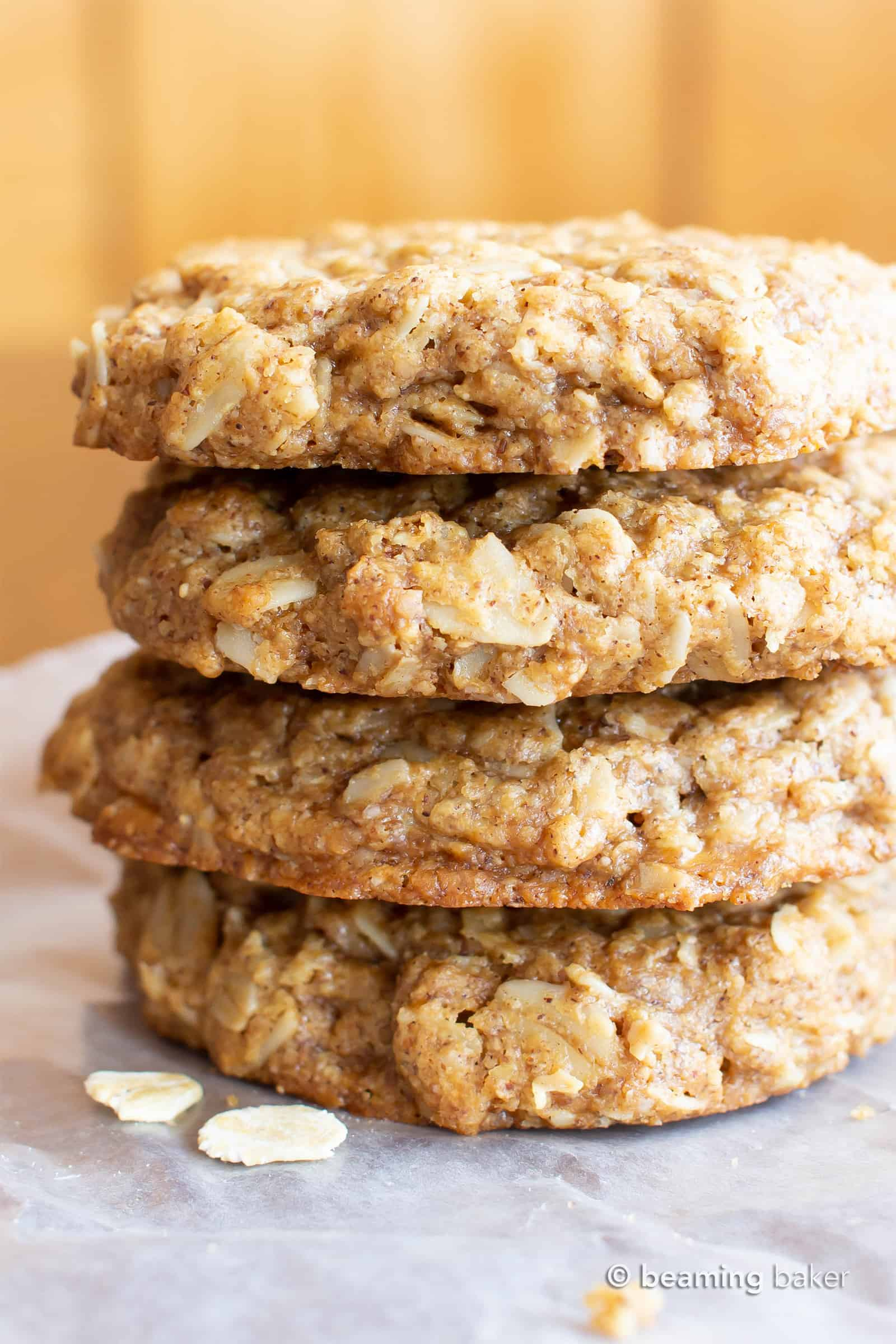 Easy Vegan Oatmeal Cookies (GF): a Simple recipe for the BEST Vegan Oatmeal Cookies! Chewy, moist centers with crispy, caramel-y edges & packed with comforting oatmeal. #OatmealCookies #Vegan #GlutenFree #Cookies   Recipe at BeamingBaker.com