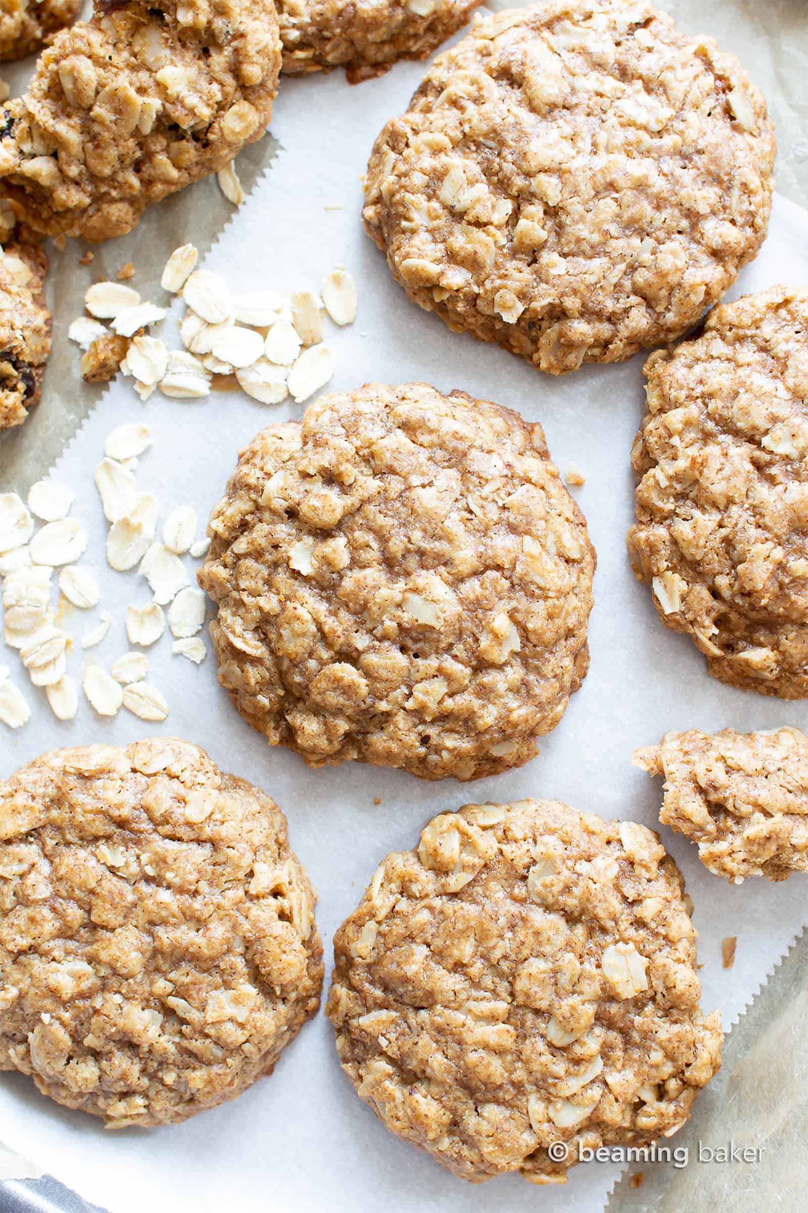 Easy Vegan Oatmeal Cookies (GF): a Simple recipe for the BEST Vegan Oatmeal Cookies! Chewy, moist centers with crispy, caramel-y edges & packed with comforting oatmeal. #OatmealCookies #Vegan #GlutenFree #Cookies | Recipe at BeamingBaker.com