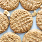 Vegan Cashew Butter Cookies Recipe: just 4 ingredients for super soft, buttery, melt-in-your-mouth Flourless & Paleo Cashew Butter Cookies! Quick & easy, made from healthy ingredients, GF. #CashewButter #Cookies #Paleo #Vegan #Flourless | Recipe at BeamingBaker.com