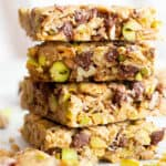 Chocolate Pistachio Healthy Vegan Snack Bars (GF): soft & chewy Gluten Free Vegan snack bars packed with chocolate & pistachios! The perfect nutty snack—easy to make, simple ingredients for the BEST vegan snack bars! Dairy-Free, Refined Sugar-Free. #Snacks #Vegan #GlutenFree #HealthySnacks | Recipe at BeamingBaker.com