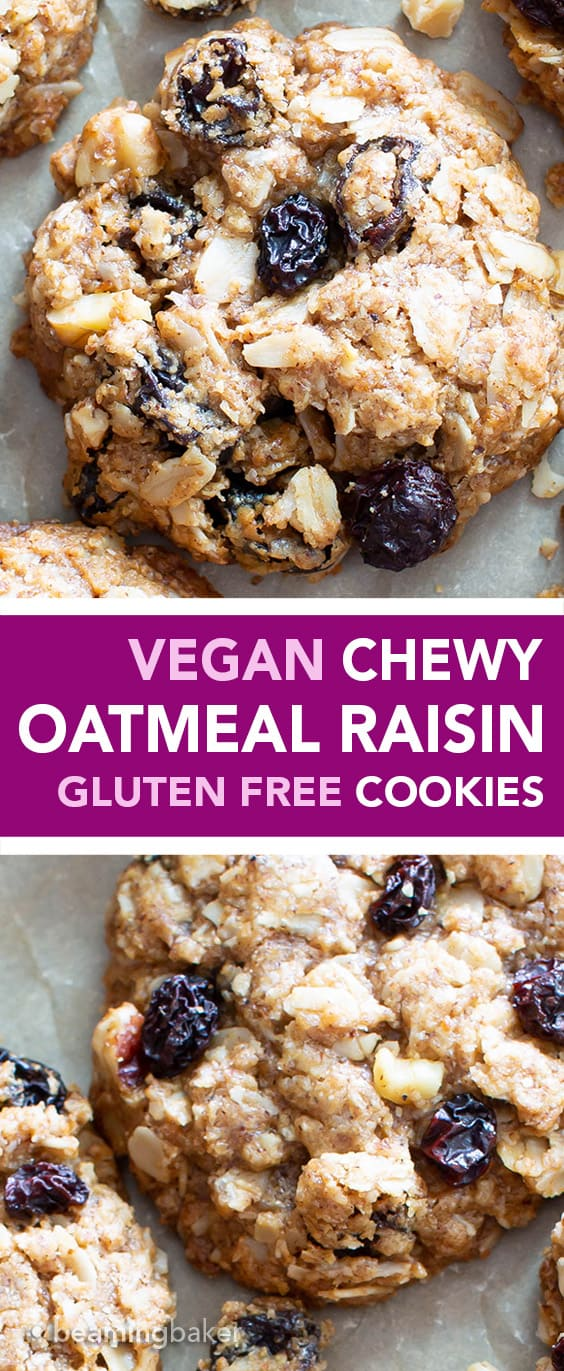 The BEST VEGAN chewy oatmeal raisin cookies EVER--crispy edges with a CHEWY center, bursting with oats, warm spices & juicy raisins! Gluten-Free, Healthy Ingredients! #Vegan #Cookies #OatmealRaisin #GlutenFree | Recipe at BeamingBaker.com