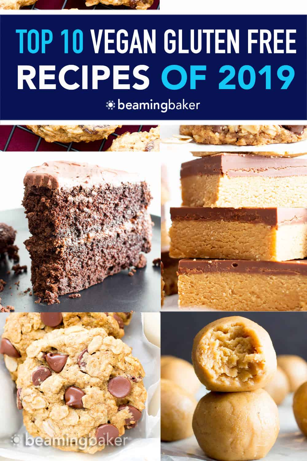 Top 10 Vegan Gluten Free Recipes (GF): join me as we countdown the most popular GF + vegan recipes of the year! Including: no bake treats, cookies, cake, muffins and more! #Vegan #GlutenFree #Paleo #Healthy | Recipes on BeamingBaker.com