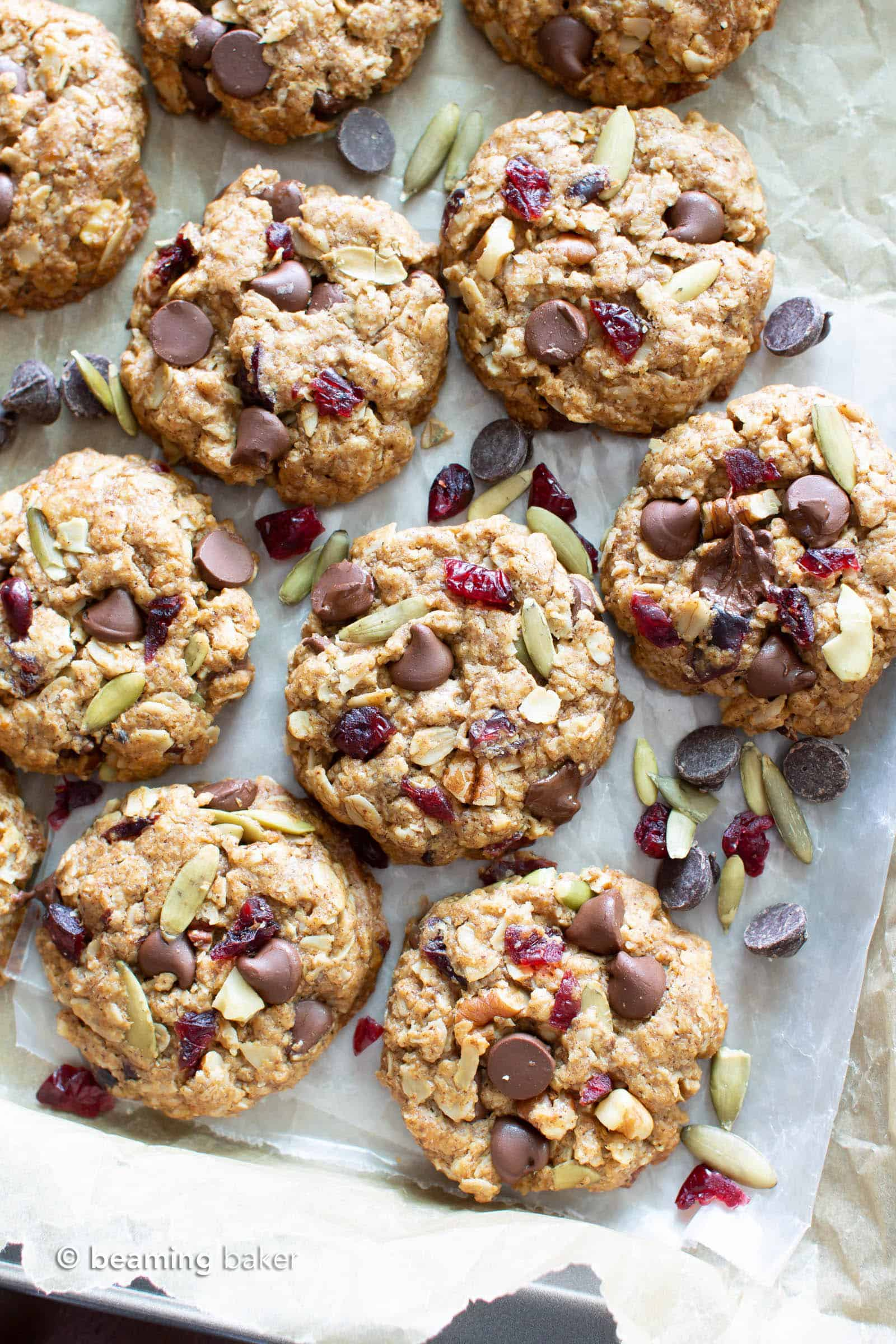 Easy Vegan Trail Mix Cookies Recipe (V, GF): learn how to make chewy vegan trail mix cookies packed with healthy fruits, nuts & seeds! The perfect homemade snack to bring with you on-the-go. Gluten Free, Dairy-Free. #Snacks #Healthy #Cookies #Vegan | Recipe at BeamingBaker.com