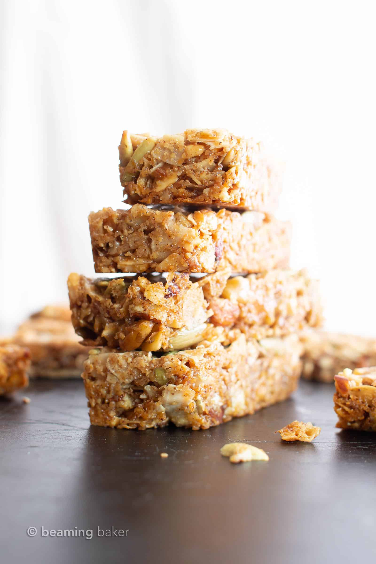 Homemade Paleo Granola Bars (V, GF): the BEST grain free granola bars recipe—chewy & satisfying, packed with nutty crunch and simple, whole ingredients. Gluten Free, Vegan, Paleo, Protein-Rich, Dairy-Free. #Paleo #GrainFree #GranolaBars #Healthy #Snacks | Recipe at BeamingBaker.com