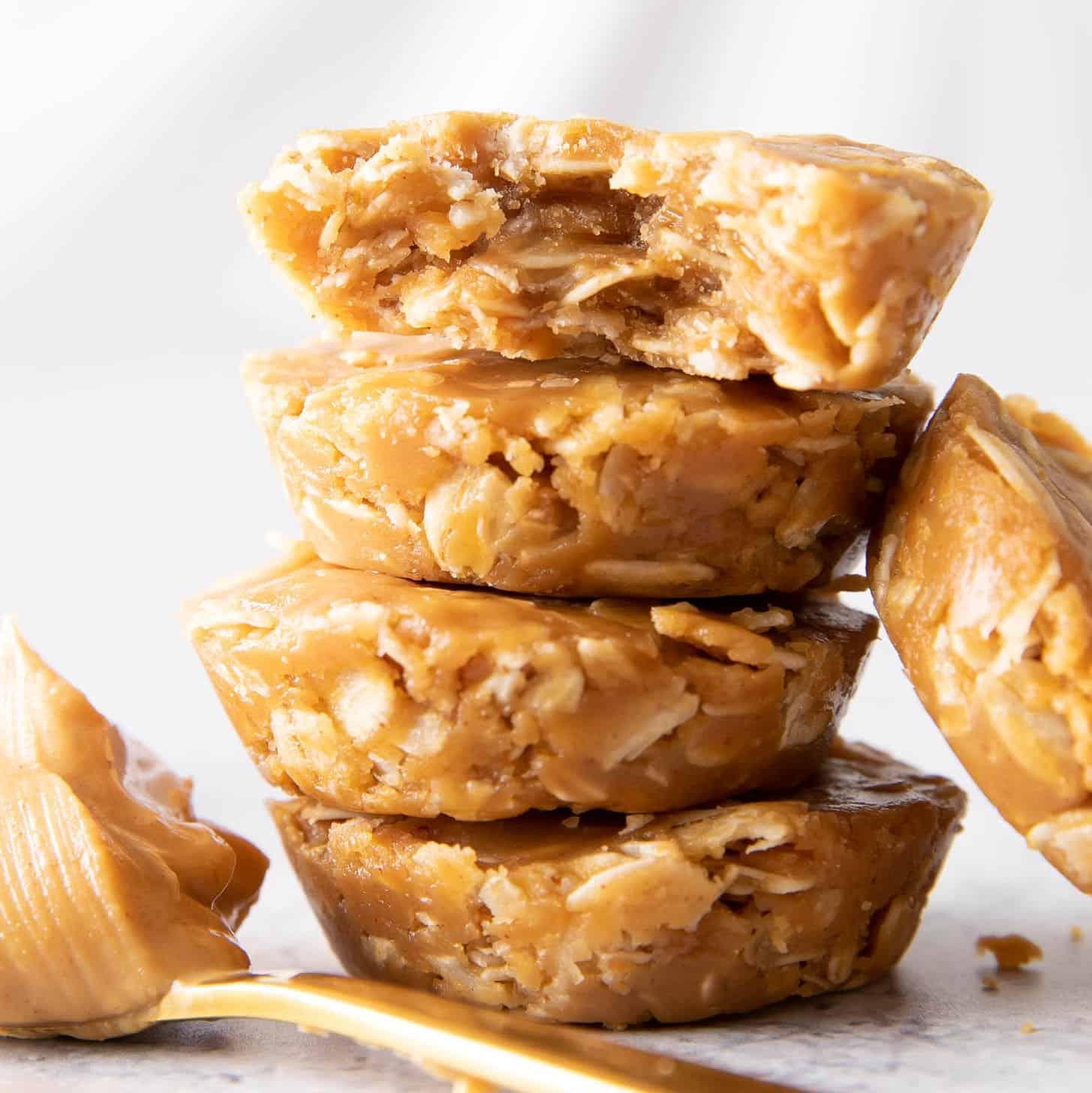 3 Ingredient No Bake Peanut Butter Oatmeal Cookie Cups Healthy Vegan Gf Beaming Baker