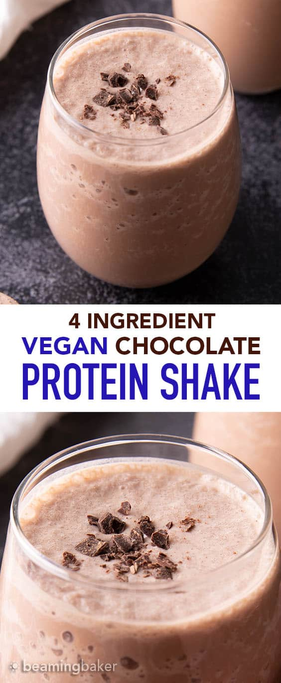 Chocolate Vegan Protein Shake Recipe (V, GF): all you need are 5 minutes & 3 ingredients to make the EASIEST & best vegan protein shake recipe—delicious, healthy & protein-rich! 22g of protein per serving. Low Sugar, Gluten Free. #Vegan #Protein #Shake #Recipe | Recipe at BeamingBaker.com