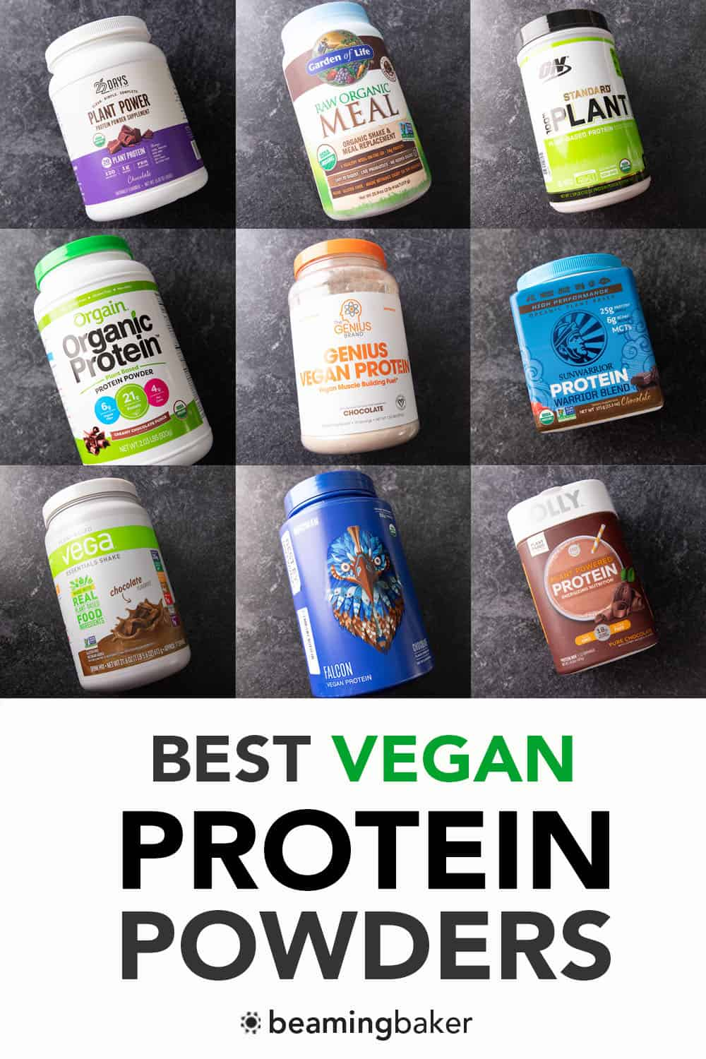 Best Vegan Protein Powder Review: my review guide of the best tasting vegan protein powder to the worst—chocolate edition! Plant-Based. #Vegan #ProteinPowder #PlantBased #VeganProtein | Review + Recipe at BeamingBaker.com