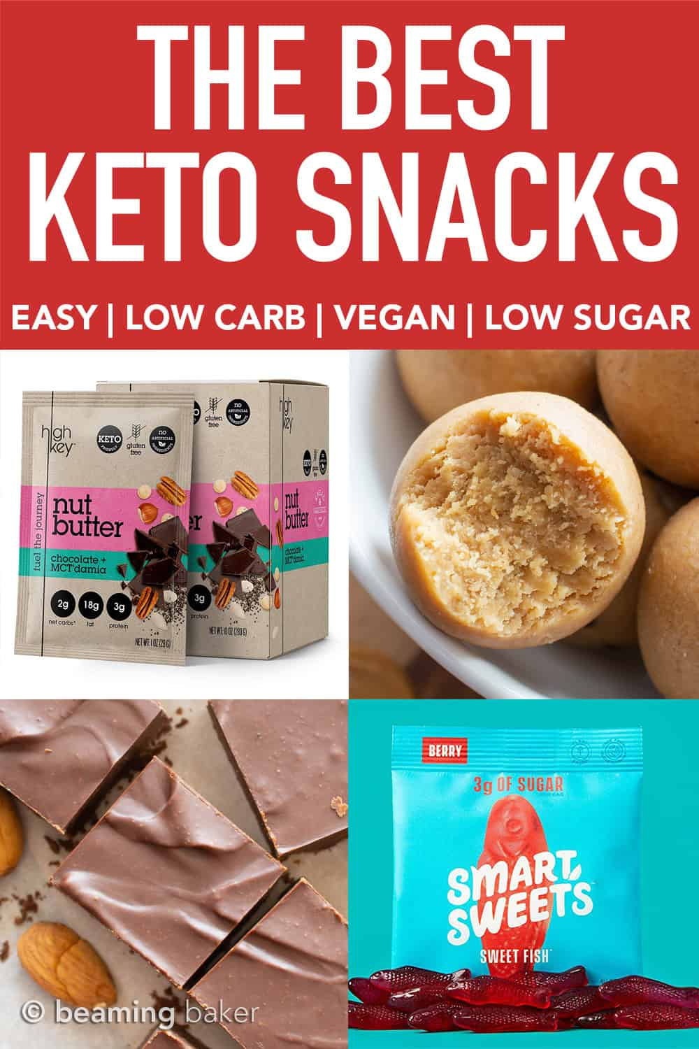 The BEST Keto Snacks: SWEETS EDITION! Easy keto diet snack ideas to keep you full and satisfied all day long. Including the best sweet homemade keto diet snacks and the best sweet snacks for the keto diet you can buy online. #Keto #KetoDessert #KetoSnacks #KetoSnacksOnTheGo #Vegan | Post on BeamingBaker.com