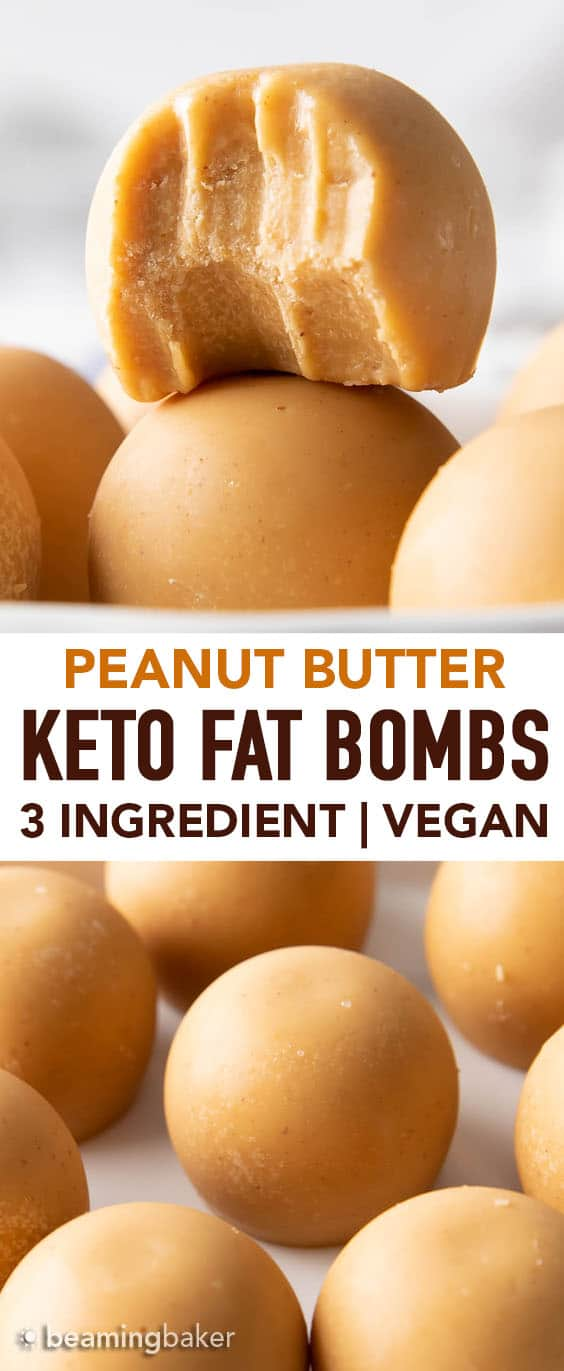 Keto Peanut Butter Fat Bombs Recipe: this 3 ingredient keto fat bombs recipe yields creamy & nutty fat bombs packed with peanut butter flavor! Easy to make, Vegan, Dairy-Free. #Keto #FatBombs #PeanutButter #LowCarb | Recipe at BeamingBaker.com
