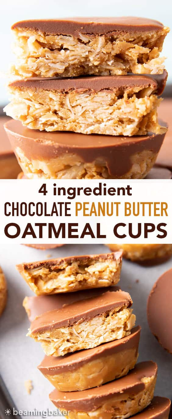 No Bake Chocolate Peanut Butter Oatmeal Cups (GF): an easy, 4 ingredient recipe for chocolate PB oatmeal cups! A delicious on-the-go snack that's packed with healthy ingredients & protein-rich YUM. #PeanutButter #NoBake #Chocolate #Oatmeal | Recipe at BeamingBaker.com