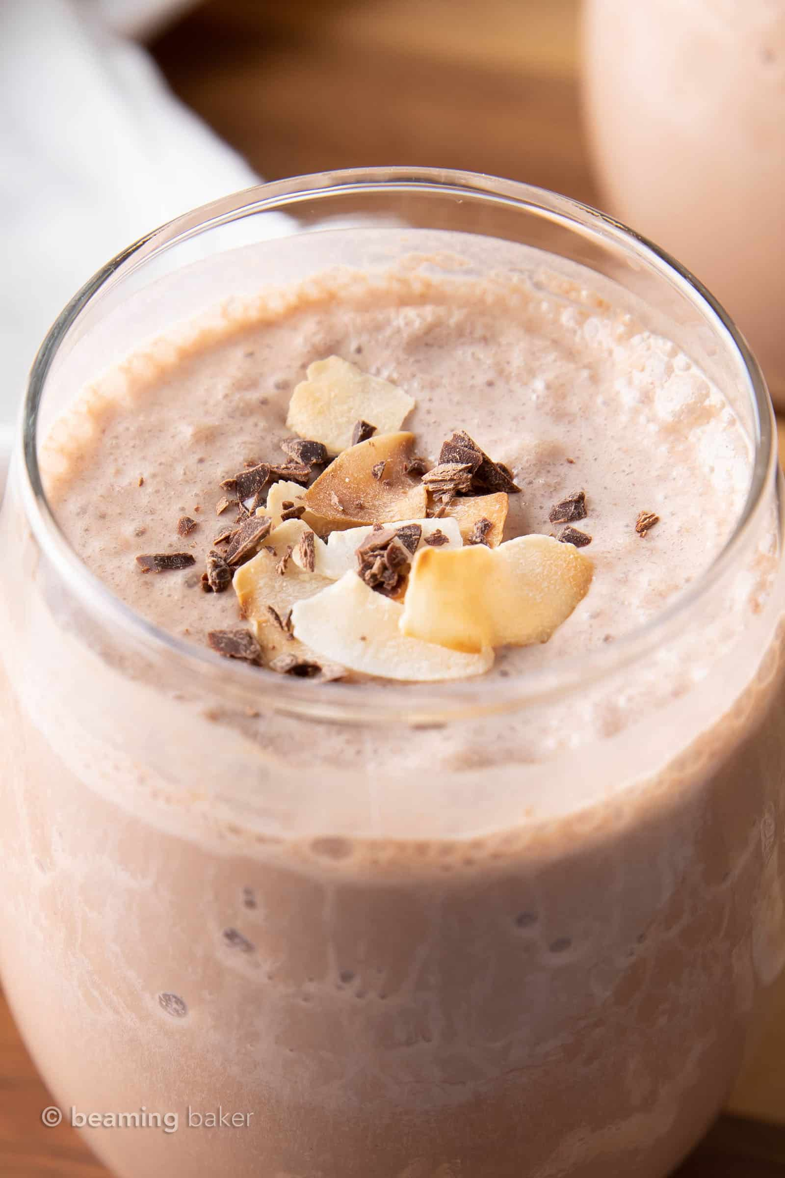 Coconut Chocolate Keto Smoothie: this keto protein smoothie recipe is delicious, easy to make & Low Carb! Just 6 ingredients for 12 grams of protein and only 3 net carbs. #LowCarb #HighProtein #Vegan #Smoothie | Recipe at BeamingBaker.com