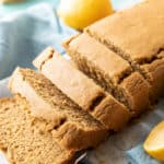 Easy Vegan Lemon Loaf: this dairy free lemon loaf is moist & fluffy, bursting with bright lemon flavor. Easy to make, Plant-Based ingredients, Gluten Free. #Lemon #Vegan #GlutenFree #Healthy | Recipe at BeamingBaker.com