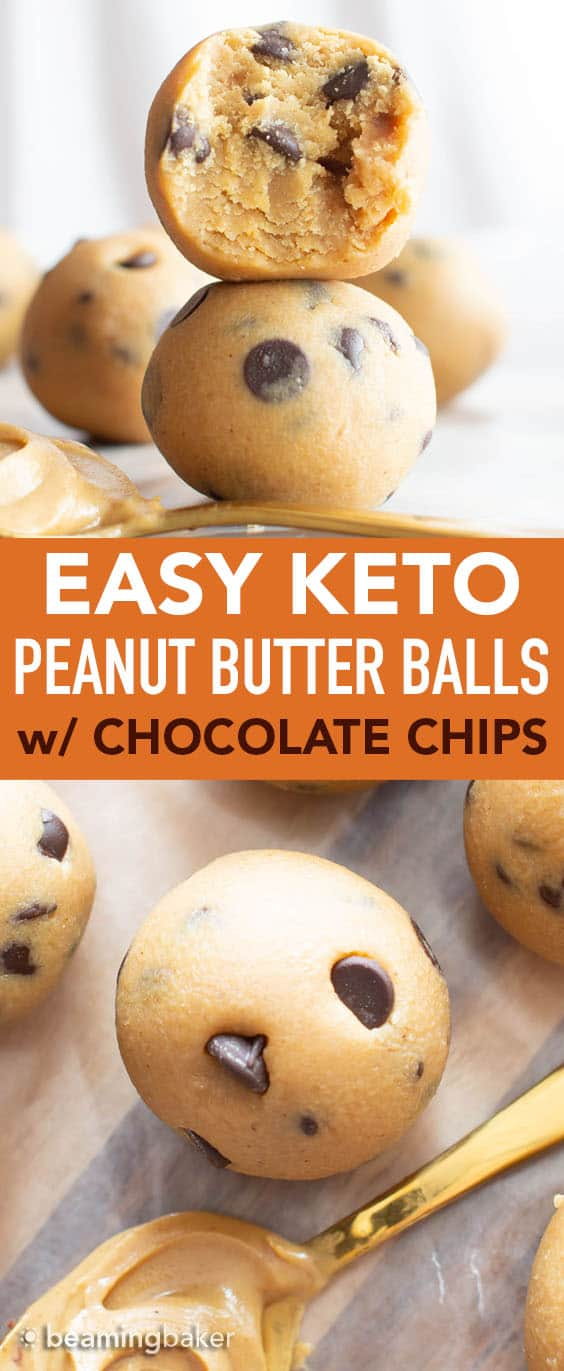 4 Ingredient Keto Peanut Butter Balls: this low carb peanut butter balls recipe is super EASY, keto-friendly and tasty! Lightly sweet peanut butter delight! Protein-Rich, Vegan. #Keto #LowCarb #PeanutButter #Vegan | Recipe at BeamingBaker.com
