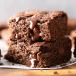 My Favorite Gluten Free Brownies Recipe From Scratch (GF): the BEST gluten free brownie recipe yields a firmer brownie that's rich & dense, packed with melty chocolate chips! Dairy-Free. #Brownies #GlutenFree #DairyFree #Dessert | Recipe at BeamingBaker.com