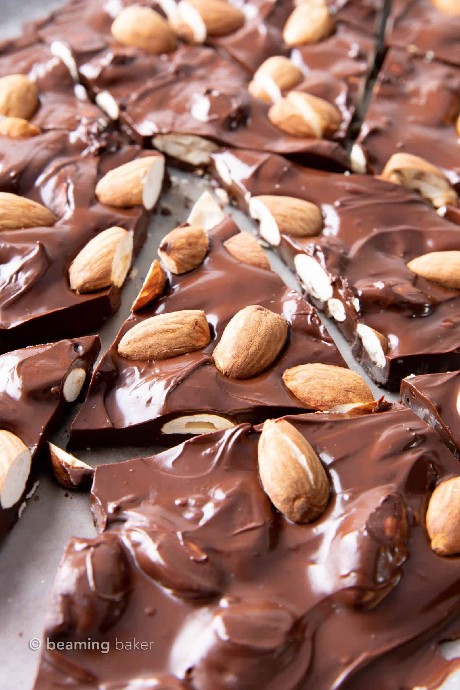 3 Ingredient Keto Almond Bark Recipe: this 5 minute keto candy recipe is decadent, rich and Low Carb! Easy to Make, Dairy-Free. #KetoCandy #Keto #LowCarb #SugarFree | Recipe at BeamingBaker.com