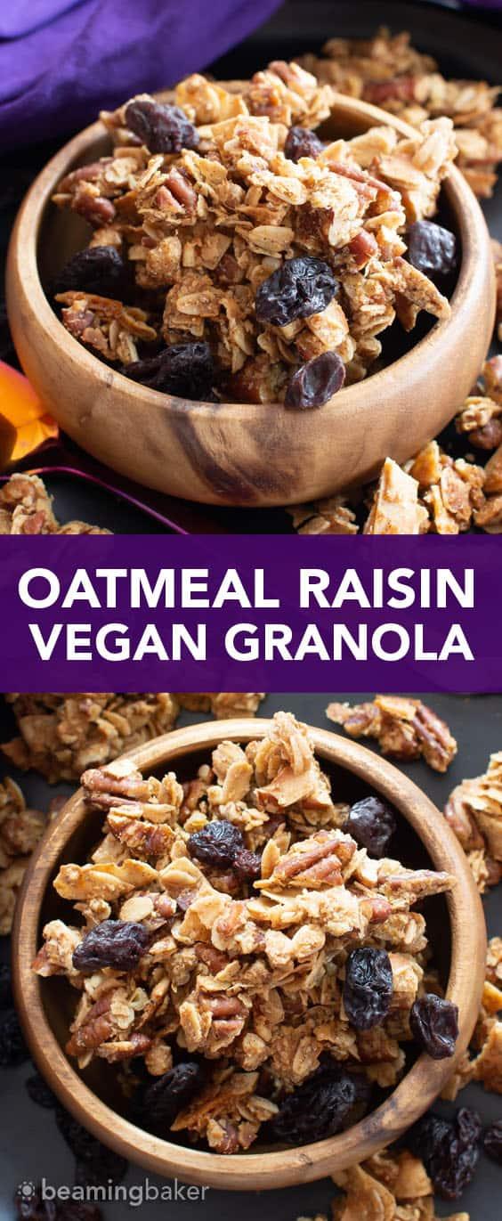 Oatmeal Raisin Vegan Granola Recipe: super CHUNKY, big cluster homemade vegan granola with juicy raisins and fiber-rich oats! Gluten Free, Healthy, Dairy-Free. #Granola #Healthy #GlutenFree #Vegan | Recipe at BeamingBaker.com