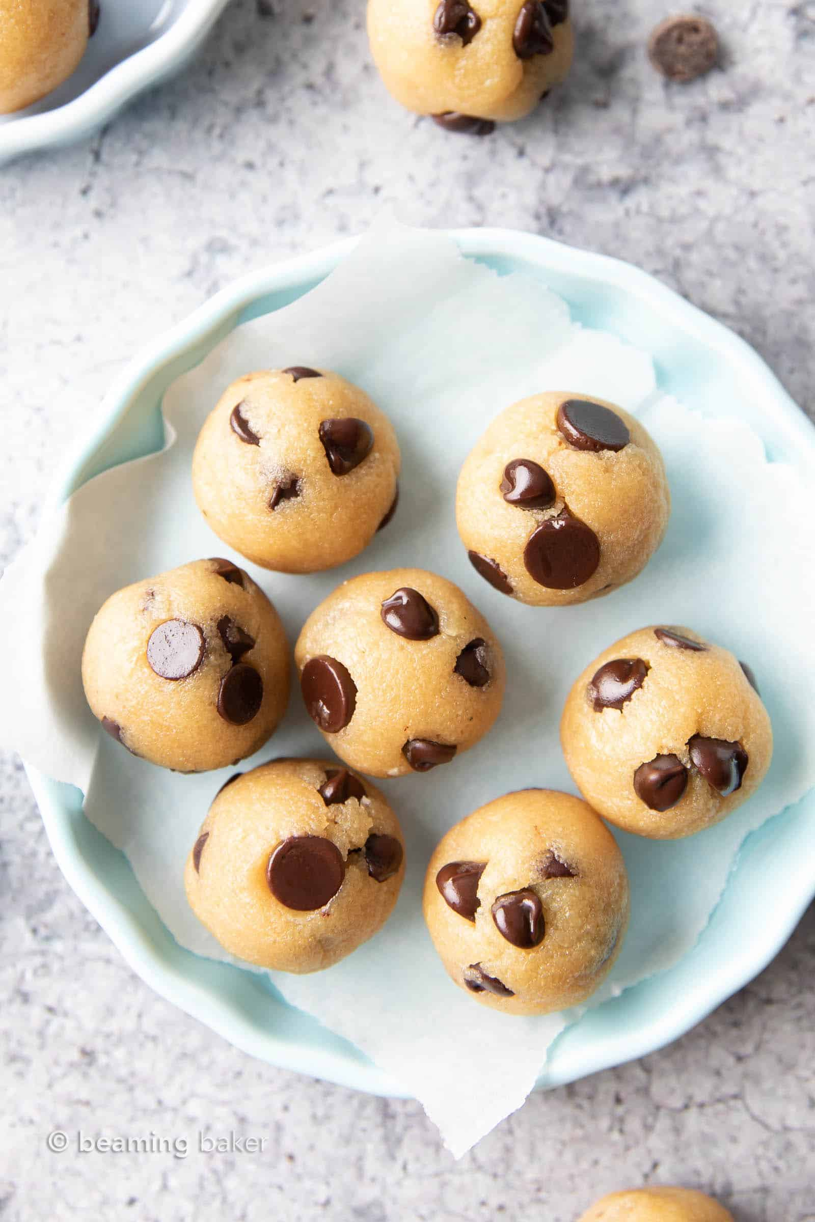 Keto Cookie Dough Bites: an easy 5 ingredient keto cookie dough recipe for rich & buttery keto edible cookie dough! Low Carb, Vegan, Dairy-Free. #CookieDough #Keto #LowCarb #KetoFriendly | Recipe at BeamingBaker.com