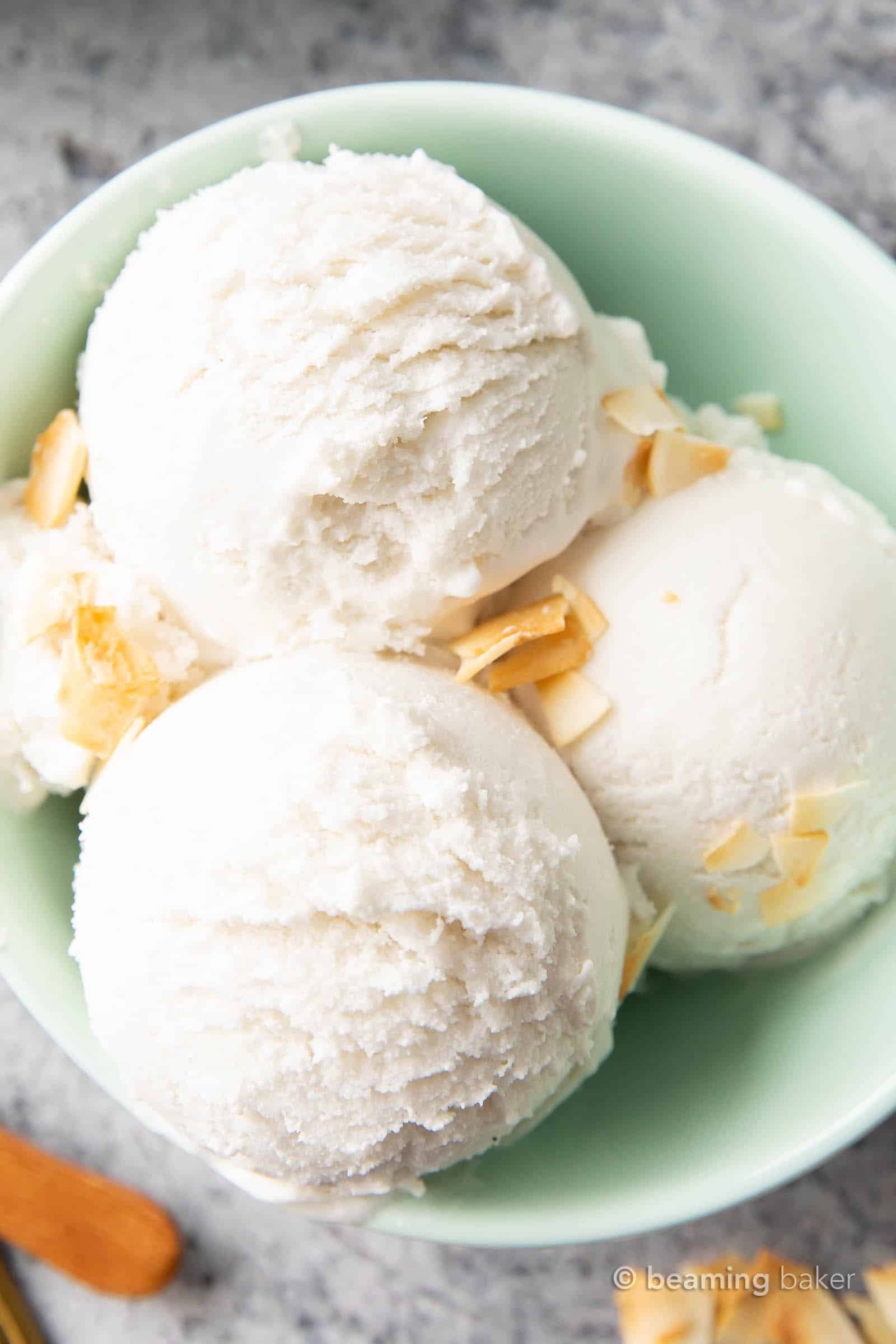 Coconut Milk Keto Ice Cream (Keto, Low Carb): this 6 ingredient keto coconut ice cream is rich, creamy and easy to make! The best keto friendly ice cream: bursting with coconut flavor, perfect for an ice cream maker and Low Carb. #Keto #KetoFriendly #LowCarb #DairyFree | Recipe at BeamingBaker.com