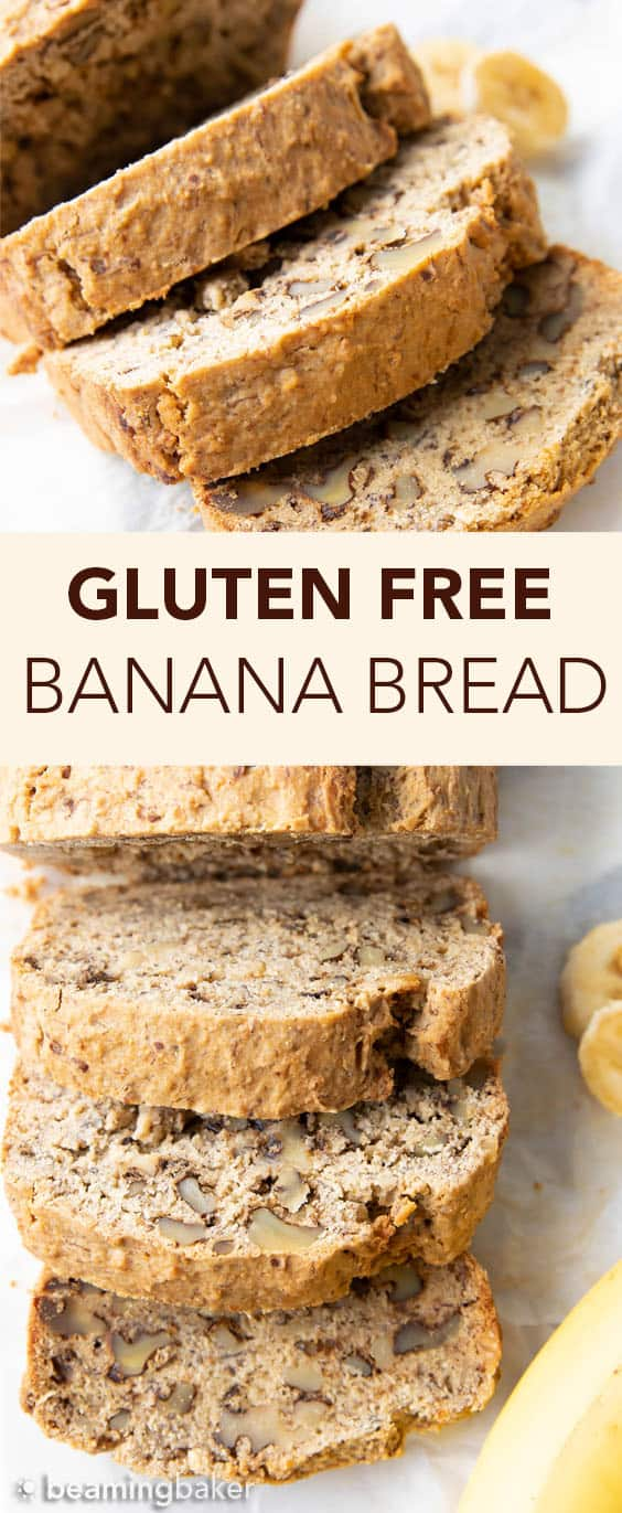 Easy Gluten Free Banana Bread Recipe: learn how to make gluten free banana bread that's deliciously moist with a soft crumb & beautiful rise. Vegan, Dairy-Free, Plant-Based. #BananaBread #GlutenFree #Banana #Vegan | Recipe at BeamingBaker.com