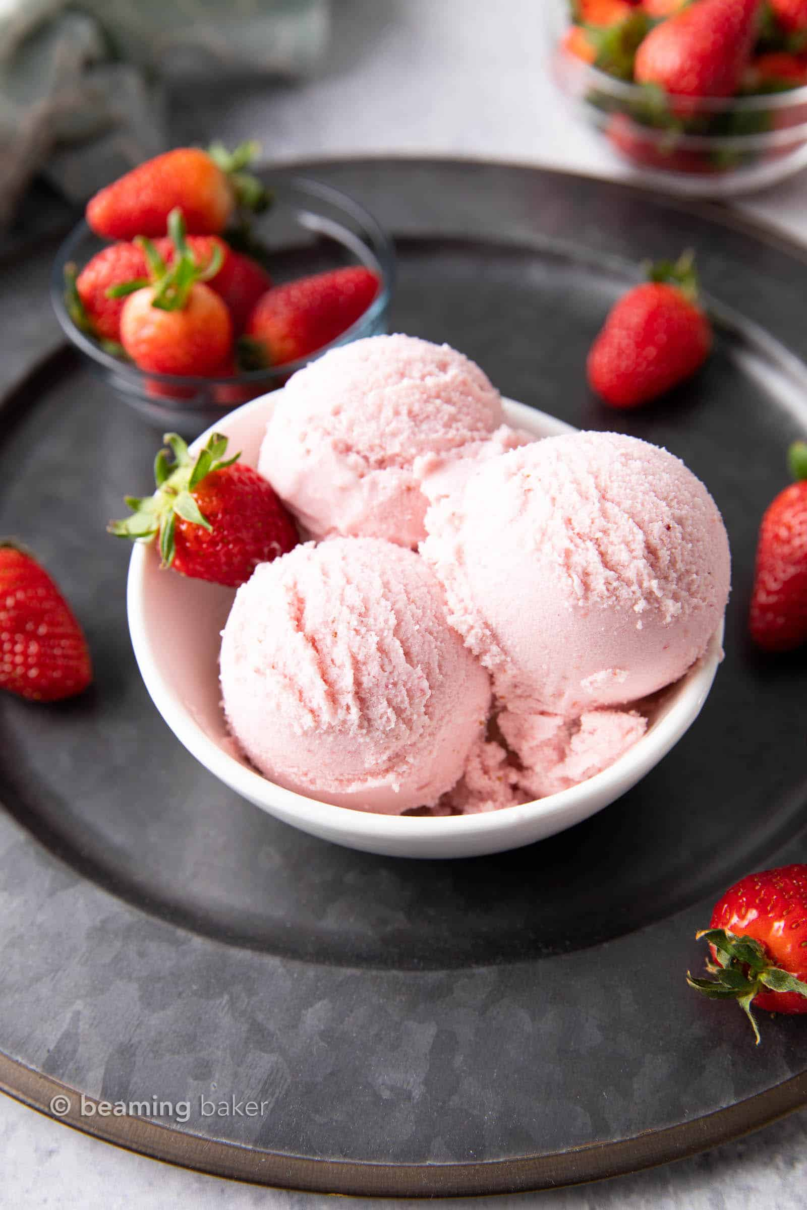 Homemade Vegan Ice Cream Recipe: learn 3 easy ways to make delicious vegan ice cream: Vanilla, Chocolate and Strawberry! Dairy-Free, Non-Dairy, Plant-Based. #VeganIceCream #Vegan #DairyFree #NonDairy | Recipe at BeamingBaker.com