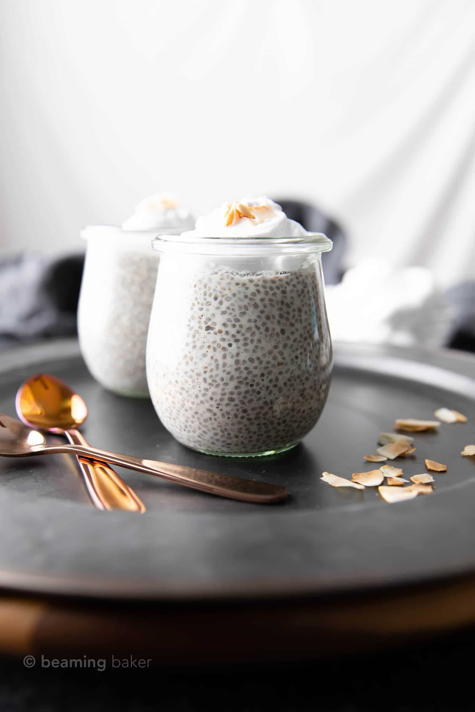 Coconut Chia Pudding Recipe: this chia pudding recipe is thick & creamy, with luscious texture and sweet coconut flavor. 5 ingredient, Vegan, Healthy, Dairy-Free, GF! #ChiaPudding #Vegan #Dessert #Coconut | Recipe at BeamingBaker.com