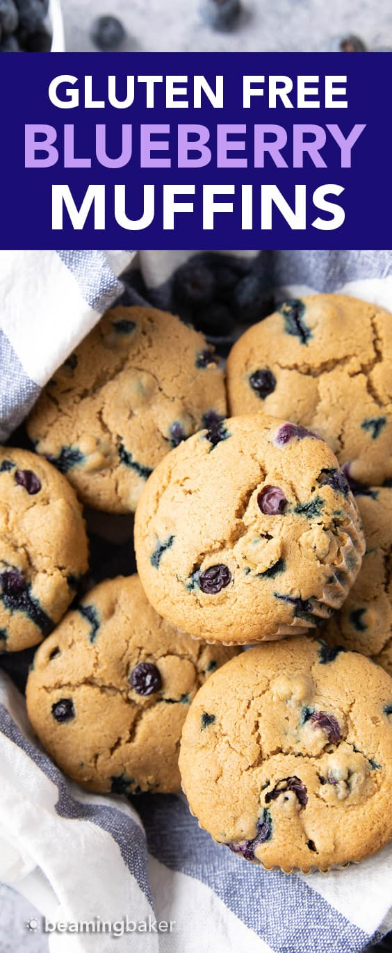 Gluten Free Blueberry Muffins Recipe (Easy!): this GF blueberry muffins recipe creates moist, tender muffins with a delicious, crispy top and fluffy crumb, bursting with blueberries! Vegan, Dairy-Free, Healthy Ingredients. #GlutenFree #GlutenFreeMuffins #Blueberry #Breakfast   Recipe at BeamingBaker.com