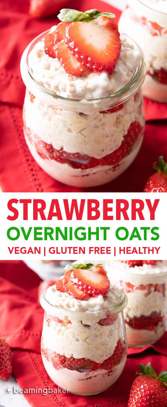 Strawberry Overnight Oats Recipe (Vegan): make easy vegan overnight oats that are thick & creamy! Simple ingredients for an easy, healthy breakfast! #Vegan #OvernightOats #OvernightOatmeal #Breakfast #Vegan | Recipe at BeamingBaker.com