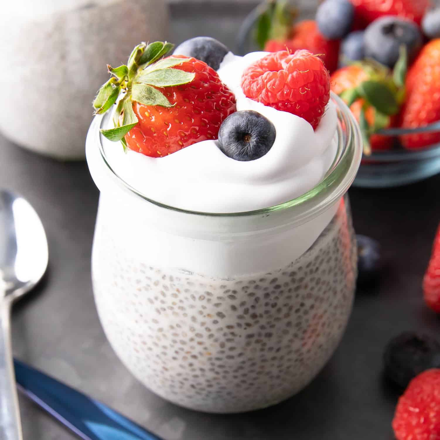 Chia Pudding: this 3 ingredient chia pudding recipe is healthy, rich & creamy, and delicious! Learn how to make chia pudding the EASY way. Vegan, Gluten Free, Dairy Free. #ChiaPudding #ChiaSeedPudding #ChiaSeed #Vegan | Recipe at BeamingBaker.com