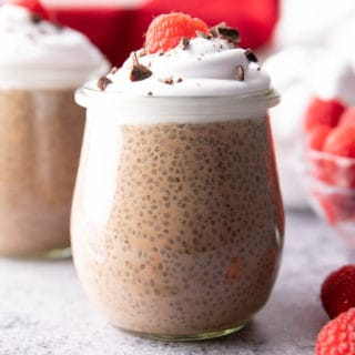 Low Carb Chocolate Chia Pudding (Keto): this rich & chocolatey keto chocolate chia pudding recipe is the best—made with simple ingredients, creamy and thick, and Low Carb! Keto chia pudding never tasted so good. #Keto #KetoDessert #LowCarb #ChiaPudding | Recipe at BeamingBaker.com