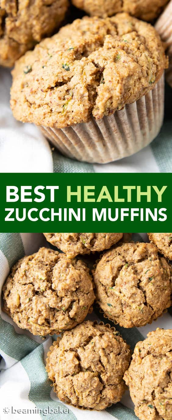 Best Healthy Zucchini Muffins: soft & moist zucchini muffins that are buttery and perfectly sweet. The best zucchini muffin recipe—healthy, gluten free, no refined sugar, delicious! #Zucchini #ZucchiniMuffins #Healthy #Muffins | Recipe at BeamingBaker.com