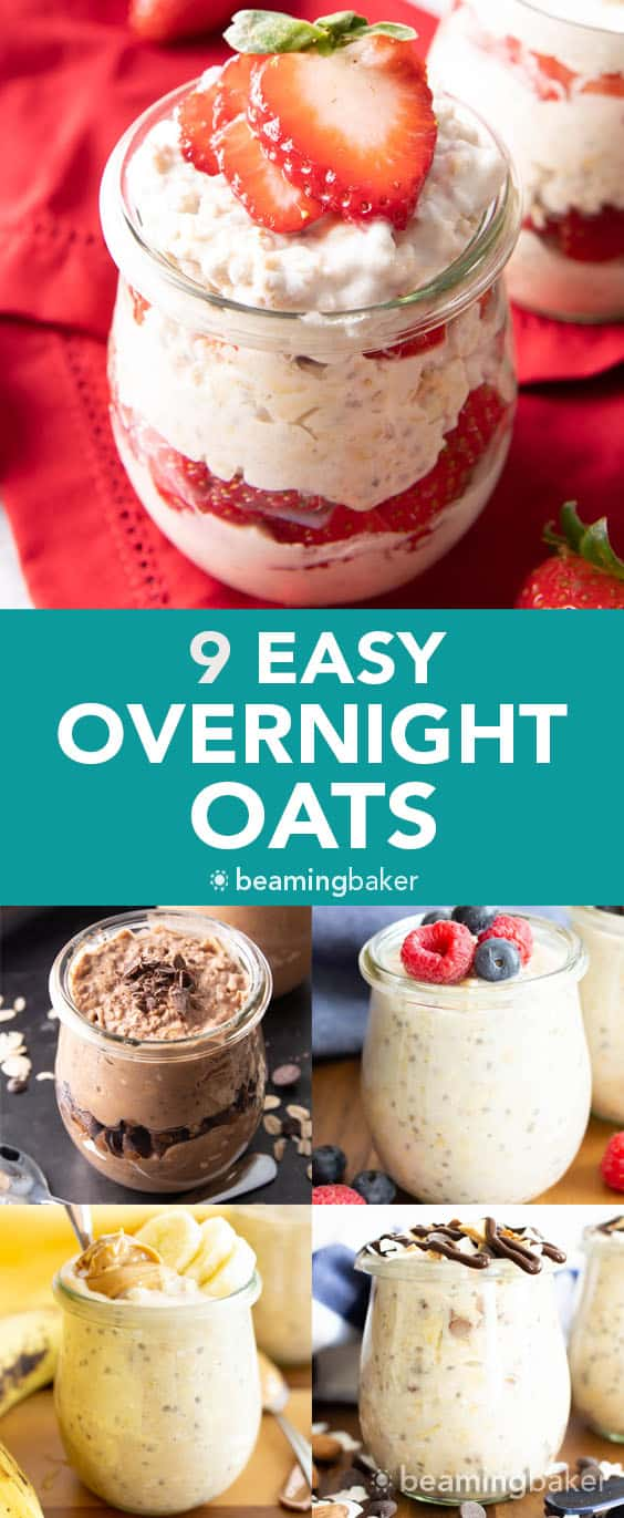 Easy Overnight Oats Recipes (Vegan): 9 ways to make the best easy overnight oats—vegan, creamy & delicious! Including: Chocolate, Peanut Butter Banana, Pumpkin Pie, Strawberry and more! #OvernightOats #Vegan #OvernightOatmeal #VeganBreakfast | Recipes at BeamingBaker.com