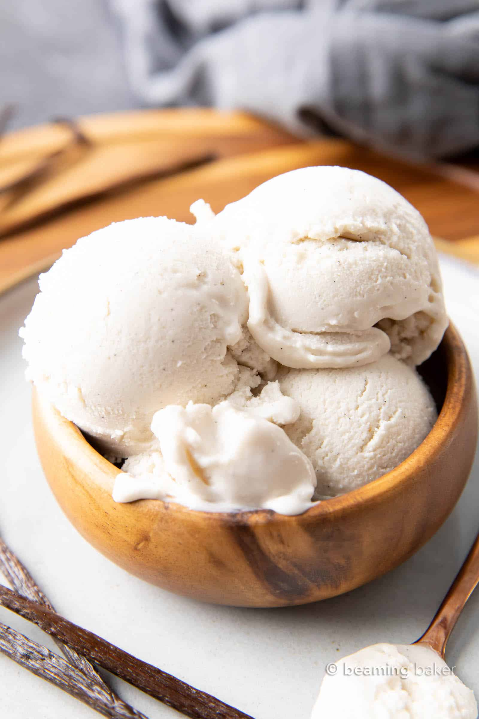 Vanilla Keto Ice Cream (Low Carb): this easy keto vanilla ice cream recipe is rich & creamy with delicious vanilla flavor! The best vanilla keto ice cream recipe—low carb, easy keto-friendly ice cream maker recipe, dairy-free! #KetoDessert #KetoIceCream #LowCarb #LowCarbIceCream #IceCream | Recipe at BeamingBaker.com