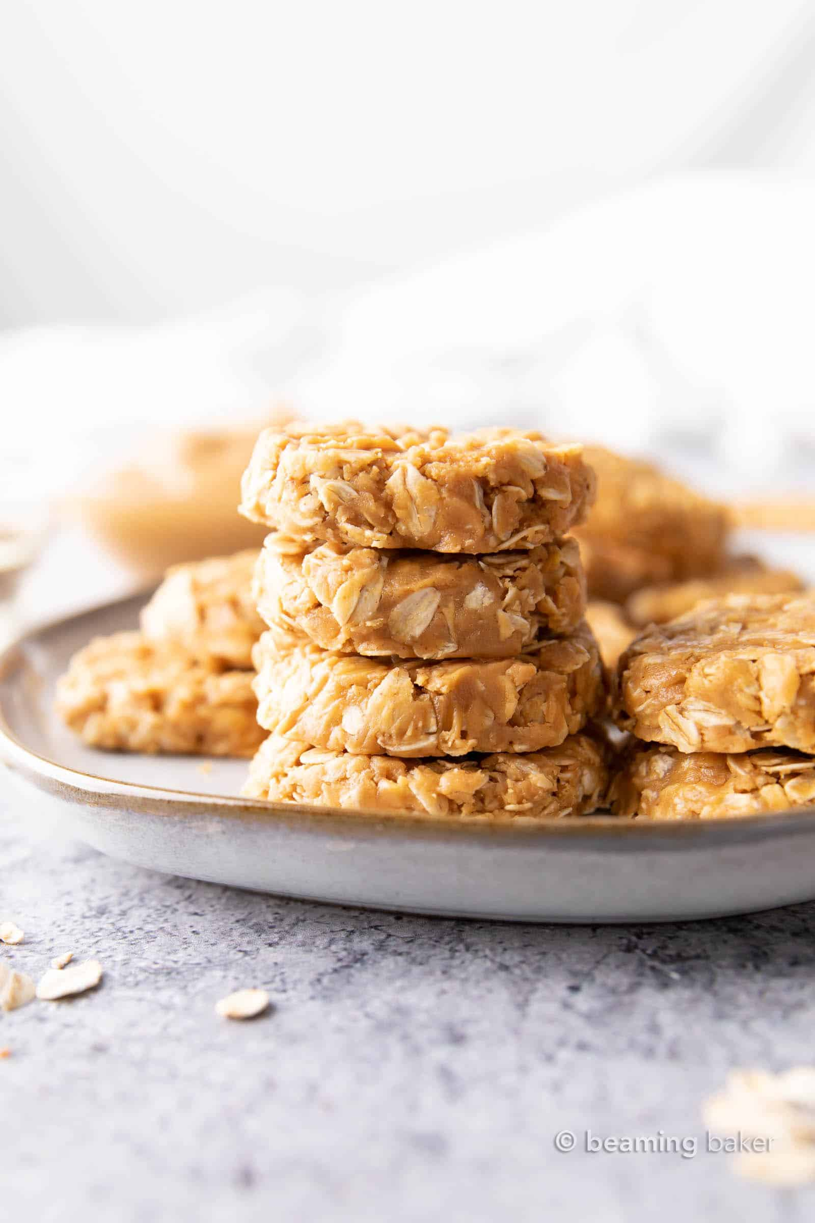 Easy Peanut Butter No Bake Cookies: this 3 ingredient peanut butter no bake cookies recipe is so easy to make! Sweet, chewy and satisfying no bake peanut butter oatmeal cookies. #NoBake #Cookies #PeanutButter #Oatmeal | Recipe at BeamingBaker.com