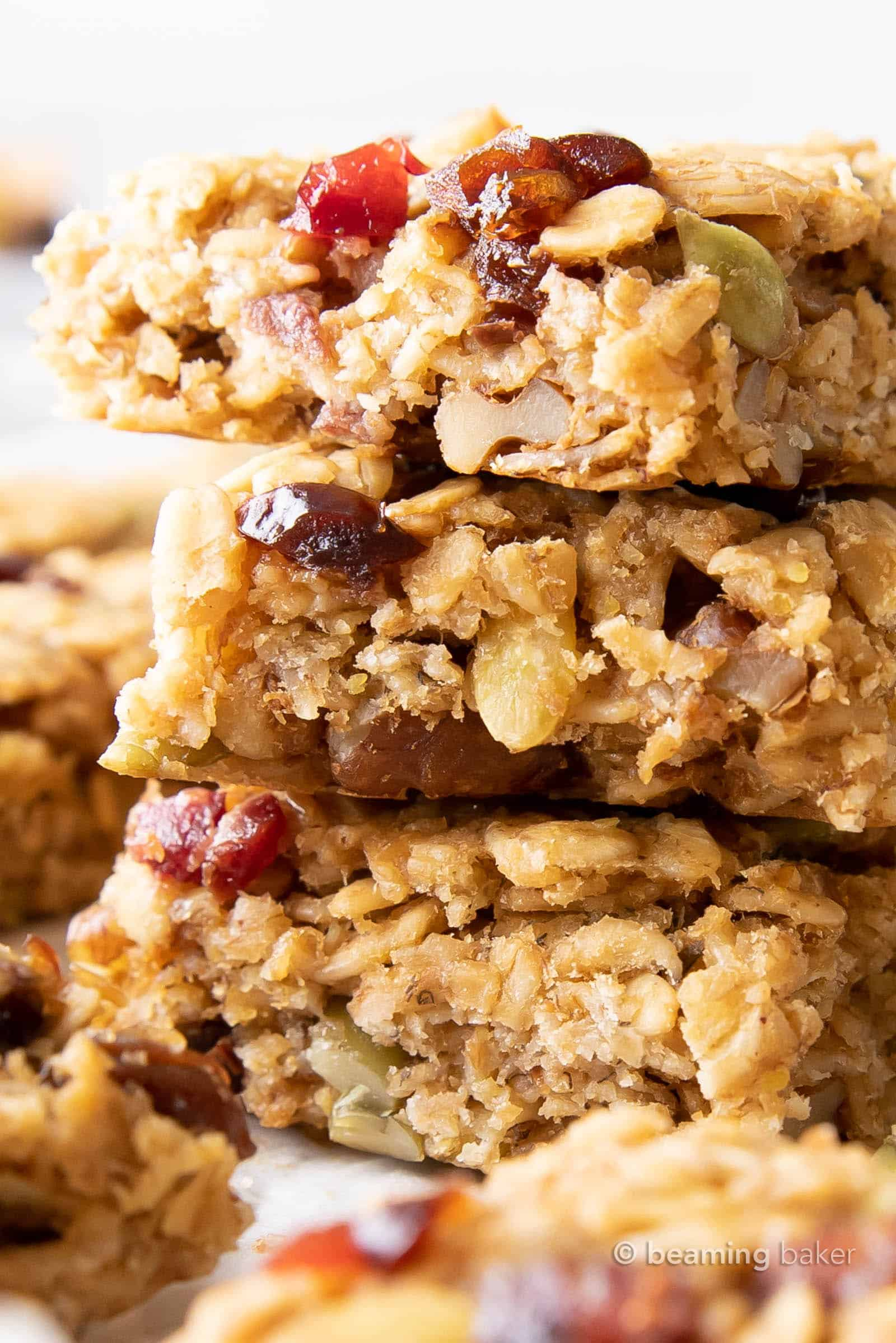 Healthy Breakfast Bars: this healthy breakfast bars recipe yields deliciously soft bars bursting with fruits, nuts and seeds. Easy to customize, Quick & Easy, the Best Healthy Breakfast Bars! #healthy #breakfast #healthyrecipe #breakfastrecipe | Recipe at BeamingBaker.com