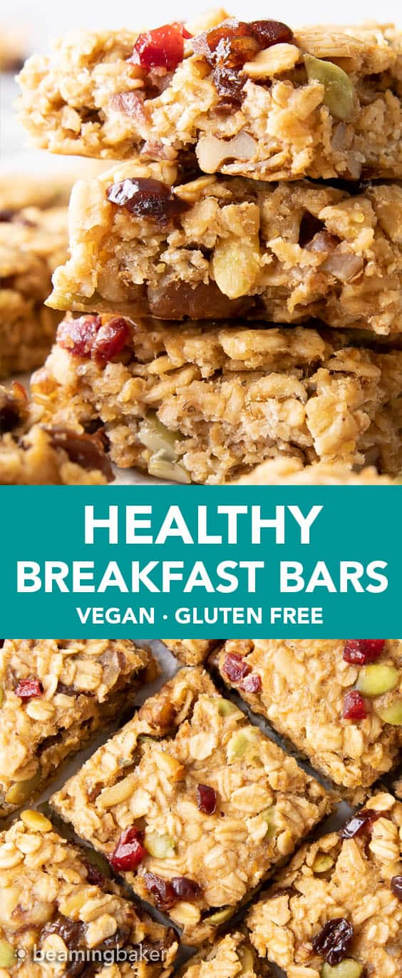Deliciously soft healthy breakfast bars bursting with fruits, nuts and seeds. The best healthy breakfast bars recipe! #healthy #breakfast #bars #healthybreakfast | Recipe at BeamingBaker.com