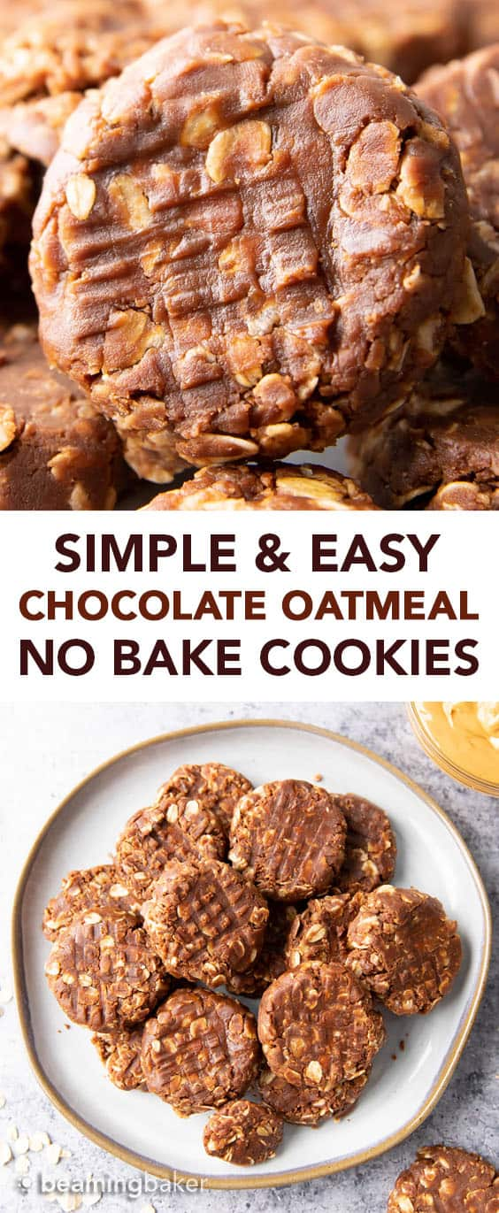 Simple & Easy No Bake Chocolate Oatmeal Cookies: just 4 ingredients for soft & chewy no bake cookies prepared in minutes! Delicious, Healthy and Easy! #NoBake #Oatmeal #Cookies #Chocolate | Recipe at BeamingBaker.com