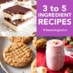 3 to 5 Ingredient Dessert Recipes: quick & easy 3 ingredient to 5 ingredient dessert recipes, from cookies and brownies to dessert bars, ice cream & cookie dough! Healthy, Vegan, Gluten Free, Dairy-Free. #EasyDesserts #3Ingredient #5Ingredient #Vegan | Recipes at BeamingBaker.com