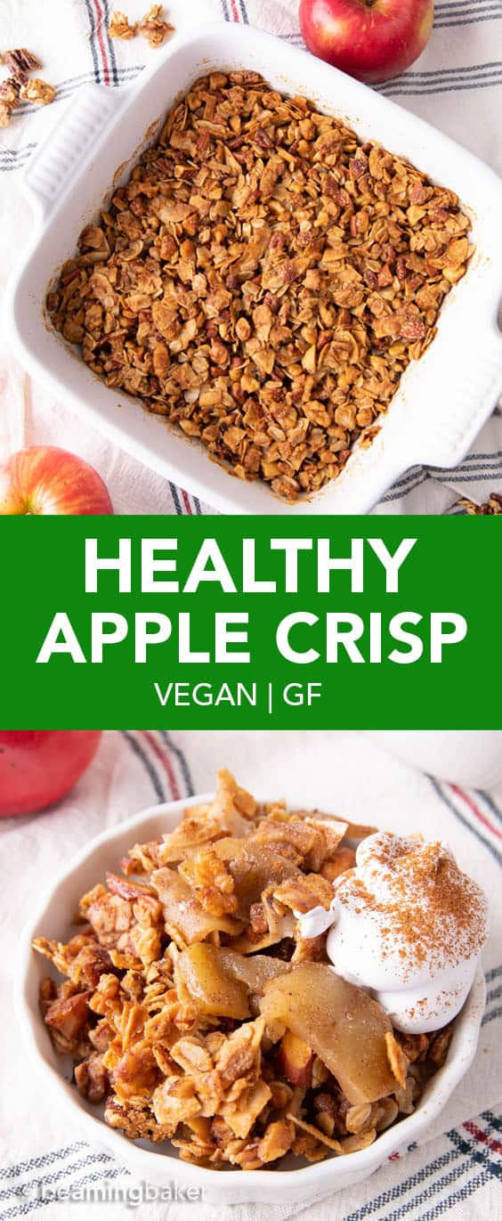 Easy Healthy Apple Crisp Recipe (V, GF): learn how to make healthy apple crisp with a crispy topping, gooey & warm apple filling and healthy ingredients! Healthy, GF. #AppleCrisp #Healthy #HealthyDesserts #Apples | Recipe at BeamingBaker.com