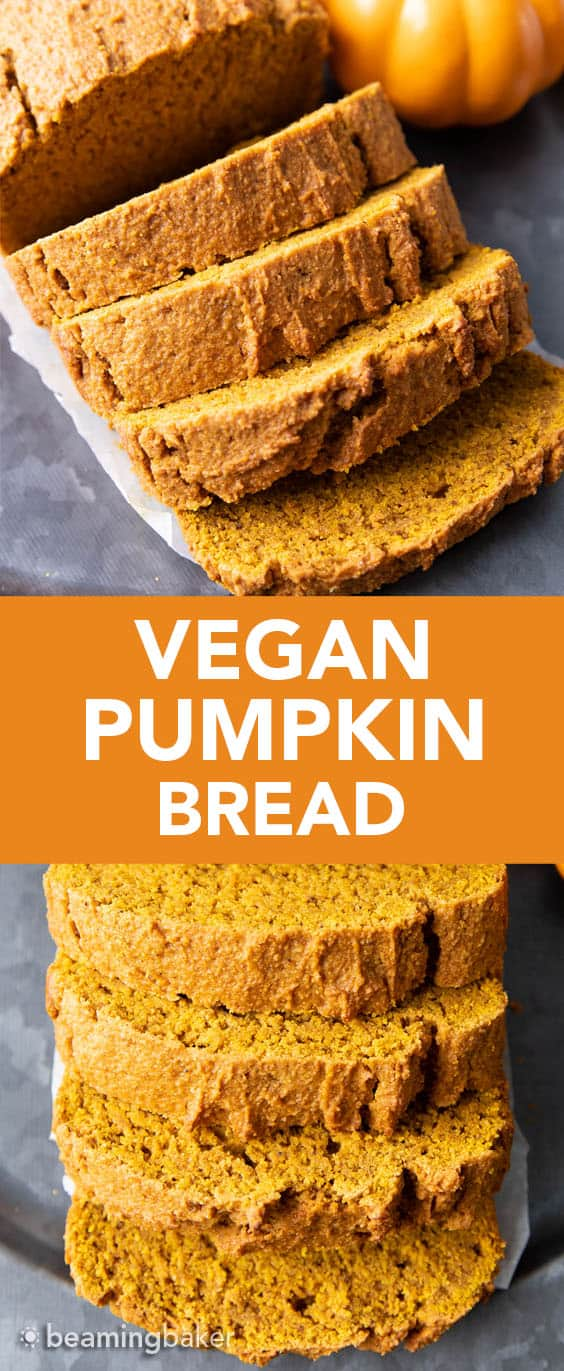 Easy Vegan Pumpkin Bread: this vegan pumpkin bread recipe is moist, deliciously dense & lightly fluffy. The best vegan pumpkin bread—rich pumpkin flavor, warm spices & lightly sweet. #Pumpkin #Vegan #PumpkinBread #VeganRecipes | Recipe at BeamingBaker.com