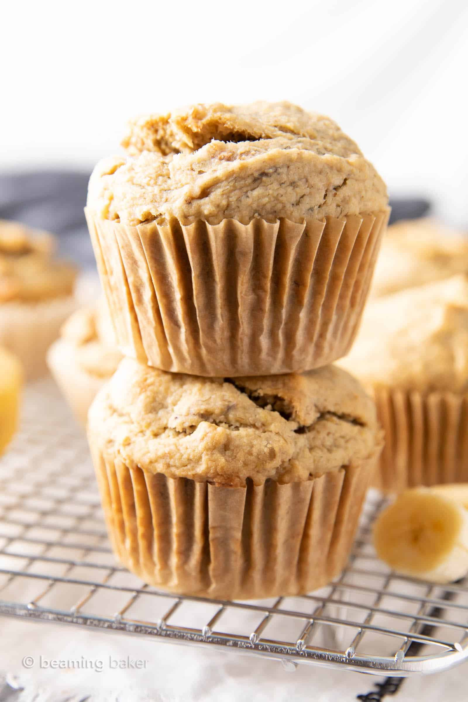 An easy recipe for Gluten Free Banana Muffins that are satisfyingly dense and rich, with just a bit of fluffiness and delicious medium sweet banana flavor. #GlutenFree #Banana #Muffins | Recipe at BeamingBaker.com