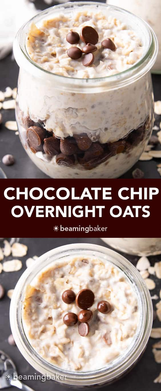 Chocolate Chip Overnight Oats: an easy vegan overnight oats recipe that's creamy, rich and chockfull of vegan chocolate chips! A quick breakfast made the night before. #Vegan #OvernightOats #OvernightOatmeal #ChocolateChips | Recipe at BeamingBaker.com