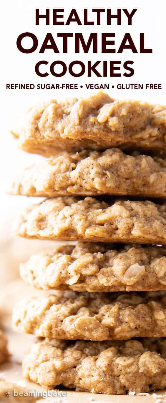 Healthy Oatmeal Cookies: this healthy oatmeal cookie recipe yields lightly sweet healthy oatmeal cookies with spiced, buttery-rich flavor, lightly crispy edges and a tender moist, interior. #Healthy #Oatmeal #Cookies | Recipe at BeamingBaker.com