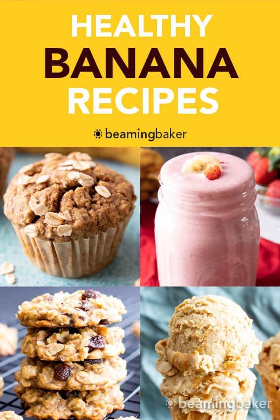 The best healthy banana recipes for ripe bananas! Everything from healthy banana bread to healthy banana muffins, healthy banana oatmeal cookies and more. #RipeBananas #Bananas #Healthy #HealthyRecipes | Recipe at BeamingBaker.com