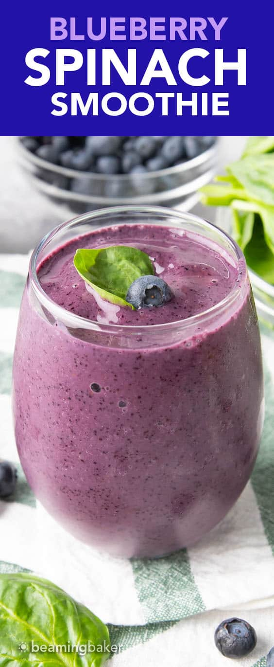 Blueberry Spinach Smoothie: an easy 4 ingredient recipe for a refreshing, healthy blueberry spinach smoothie packed with antioxidants. Ready in minutes. #Blueberry #Spinach #Smoothie #Healthy | Recipe at BeamingBaker.com