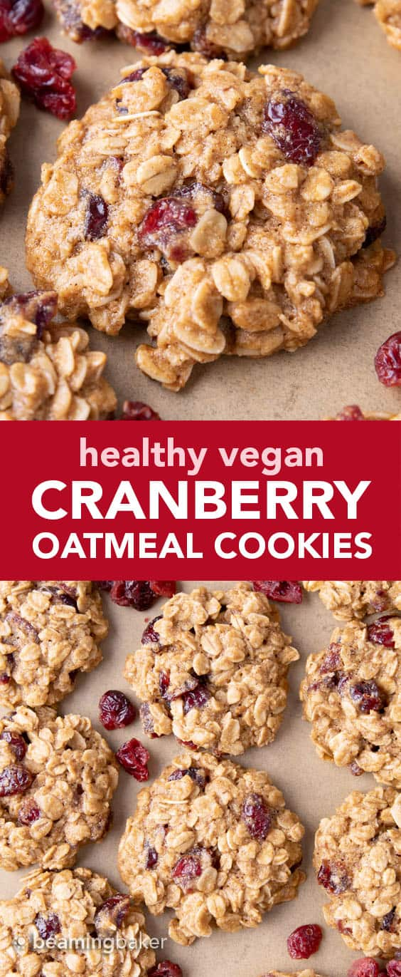 Healthy Oatmeal Cranberry Cookies: warm, cozy spices with chewy oats and sweet 'n tart cranberries in the best vegan oatmeal cranberry cookies recipe! #Vegan #Healthy #Oatmeal #Cranberry #Cookies | Recipe at BeamingBaker.com