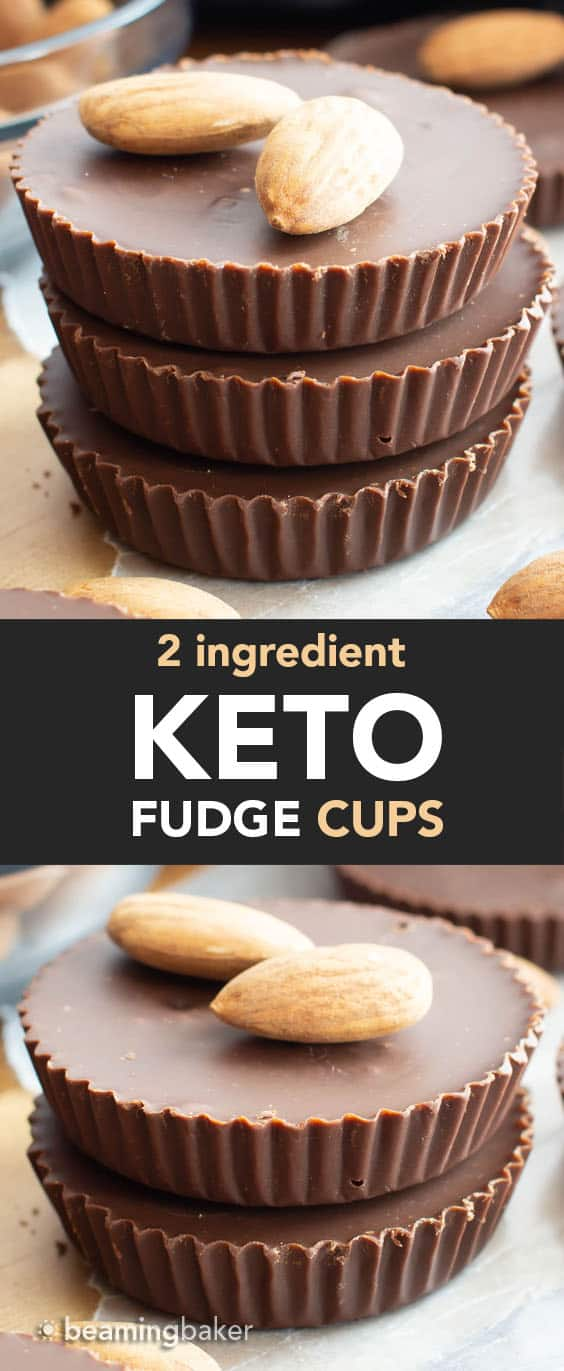 Keto Fudge Cups – made with just 2 ingredients! Only 5 minutes of prep for rich, creamy chocolate keto fudge. Low Carb! #Keto #Fudge #LowCarb #KetoDiet | Recipe at BeamingBaker.com