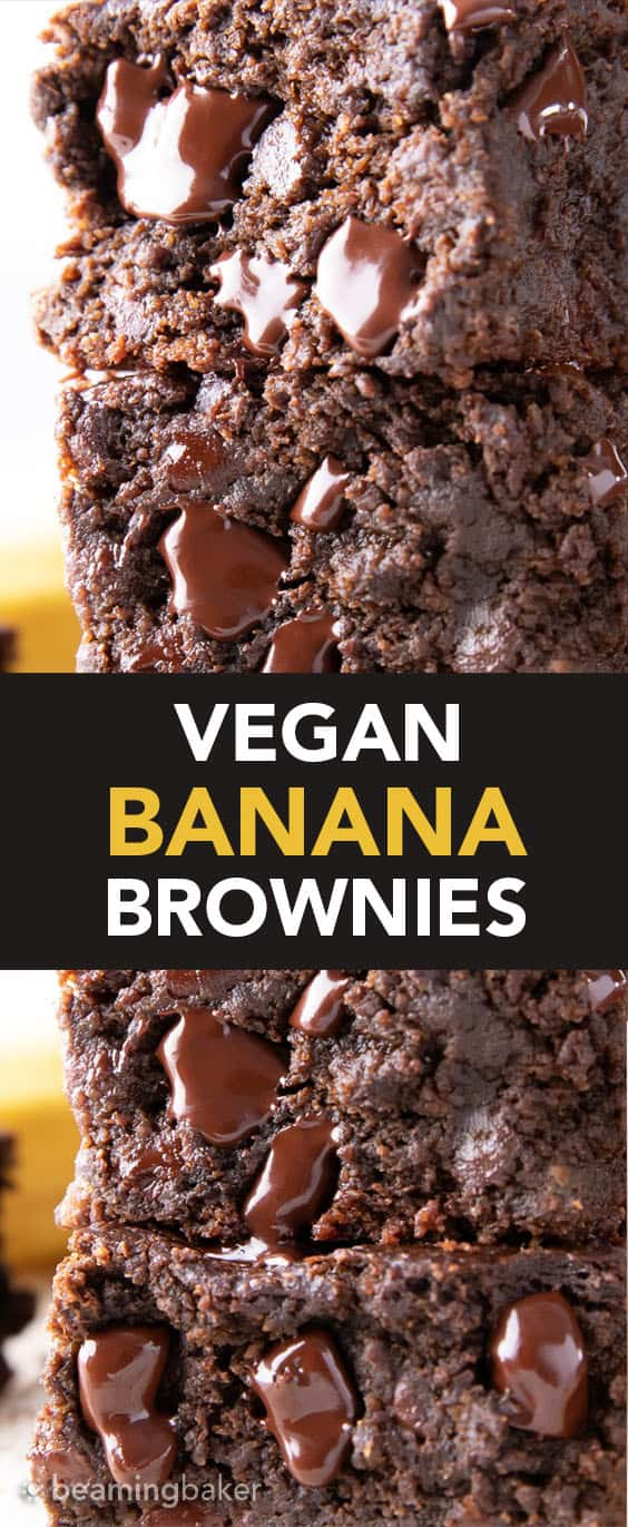 Vegan Banana Brownies: thick squares of super moist chocolate banana brownies. Melt-in-your-mouth fudgy and rich with a soft, tender crumb. The best banana brownie recipe! GF. #Vegan #Banana #Brownies #BananaBrownies | Recipe at BeamingBaker.com