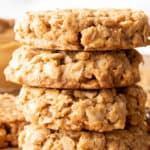 Healthy Peanut Butter Oatmeal Cookies: an easy recipe for healthy peanut butter oatmeal cookies made with simple, whole ingredients. #Healthy #Cookies #PeanutButter #Oatmeal | Recipe at BeamingBaker.com